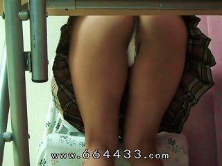 Hidden Cam Under Desk Of Japanese Schoolgirl